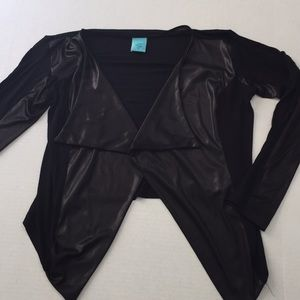 Small black leatherette cardigan drape